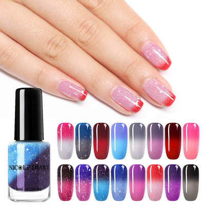 NICOLE DIARY Thermal Nail Polish Peel Off Temperature Color Changing Nail Art