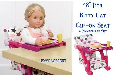 """18/"""" Doll CLIP-ON Take Along Cats HIGH CHAIR SEAT Dish Set for American Girl Boy"""
