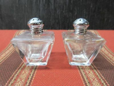 Vintage Salt & Pepper Shakers - clear glass w/ silver caps