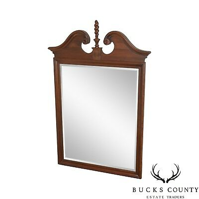 Ethan Allen Georgian Court Cherry Chippendale Style Beveled Mirror