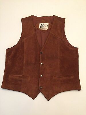 Bermans Vintage Brown Leather Suede Vest Small Medium *NICE* Fast Ship! Mens