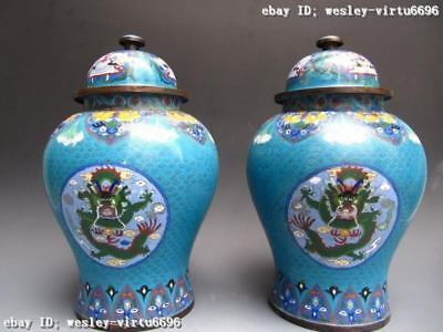 Royal Copper cloisonne enamel Two Dragon General Jar Tank pot Vase pair
