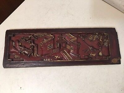 Antique Chinese Wood Carved Relief Panel With Pagoda Frog Trees More