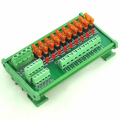 DIN Rail Mount 10 Position Power Distribution Fuse Module Board, For AC/DC 5~32V