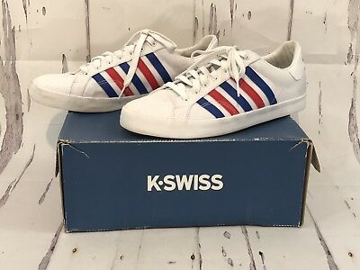 K-Swiss Womens Belmont SO T Sneakers Sz 9.5 White/ Red Blue Stripes Canvass