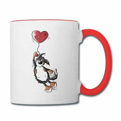 Bernese Mountain Dog With Heart Balloon Contrast Coffee Mug by Spreadshirt™