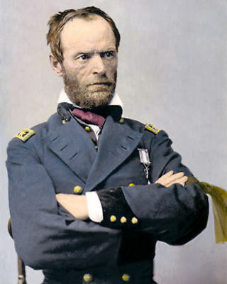 """WILLIAM T SHERMAN CIVIL WAR UNION GENERAL 1865 8x10"""" HAND COLOR TINTED PHOTO"""