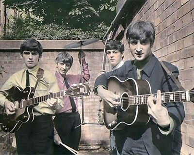 """THE BEATLES LONDON 1963 ROCK & ROLL LEGENDS 8x10"""" HAND COLOR TINTED PHOTOGRAPH"""