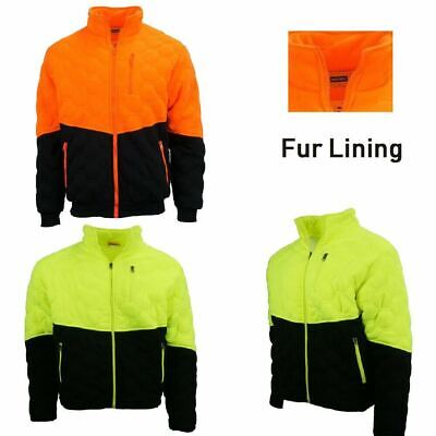 Hi-Vis Safety Warm Zip Jacket Work Wear For Construction PPE Long Sleeves Orange