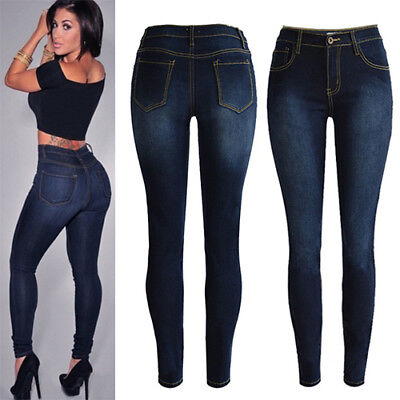 Fashion Women Skinny Denim Jeans High Waist Stretch Pencil Pants Casual Trousers