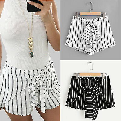 Womens Striped Bandage High Waisted Bottom Shorts Casual Beach Summer Hot Pants