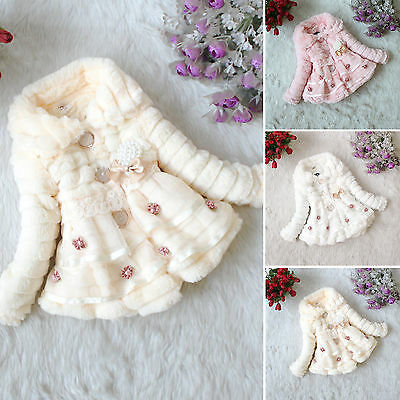 Toddler Kids Baby Girls Faux Fur Fleece Coat Jacket Soft Warm Outerwear Snowsuit