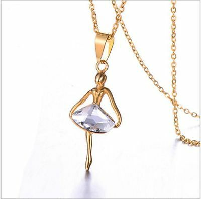 Fashion Women Crystal Fairy Angel Wing Stainless Steel Pendant Necklace NL148
