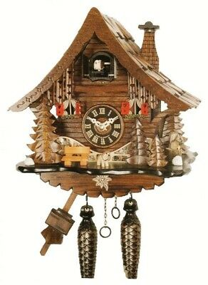 NEW Quartz Musical Cuckoo Clock With Shingled Roofin Light Wood