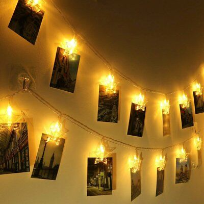 6M 40 LED Photo Clip String Lights Battery Operated for Bedroom Hanging Cards