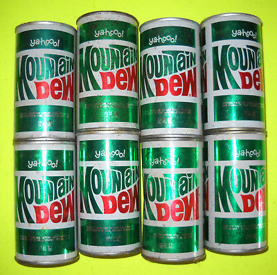 Stack of 2 Genuine Vintage 1960's Straight Steel Pull Top Tab MOUNTAIN DEW CANS