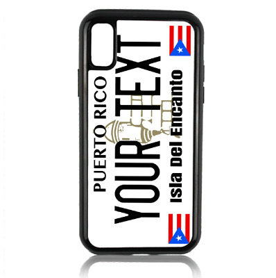 Personalized Name Puerto Rico License Plate iPhone 8 7 6 Plus + X Phone Case BK
