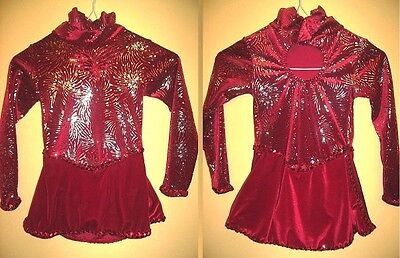 NEW Ice Figure Skating Dress Red velour with fireworks design Girl 4 6 yrs #a