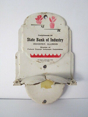 Vintage Metal Advertising Broom Holder State Bank of Industry Ilinois