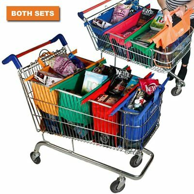 NEW 2 x Set of 4 Shopping Trolley Bags Original/Shallow Reusable Eco-Friendly