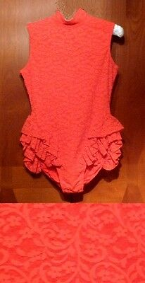 Ice Skating Roller Dance Tap Baton Twirling Dress leotard Red lace AS Girls L