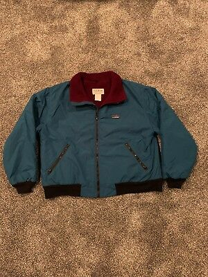 Vintage LL Bean Winter Coat Warm Up Jacket Made In USA L Green/Maroon Thinsulate