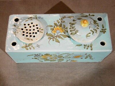 Antique 19th Century French Faience Hand Painted Stand, Inkwell, Cover, & Sander