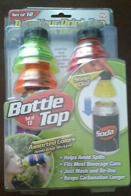 As Seen On TV Bottle Top Soda Can Snap On Toppers Set of 12 NEW Travel Keep Fizz
