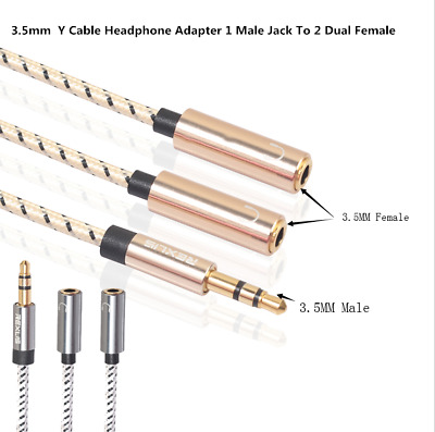 3.5mm Audio Mic Splitter Y Cable Headphone Adapter 1 Male Jack To 2 Dual Female
