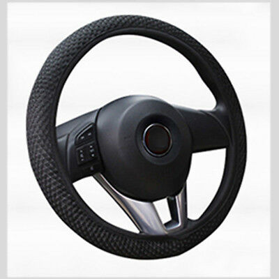 15 inch Black Microfiber Leather Auto Truck Car Steering Wheel Cover Protector