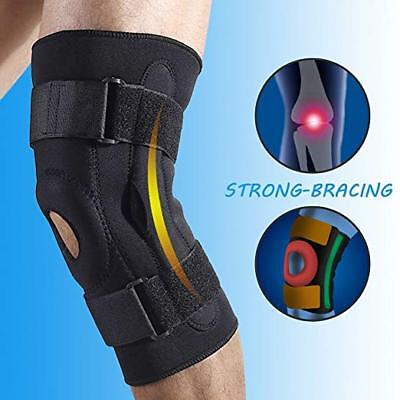Double Metal Hinged Full Knee Brace Adjustable Metal Support Sports Regular L XL