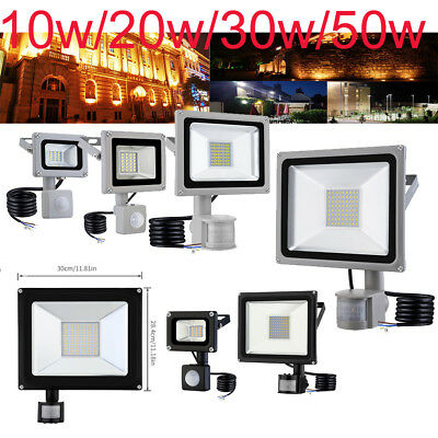 LED PIR Floodlight 10W 20W 30W 50W Wall Motion Light Outdoor Security Garden UK