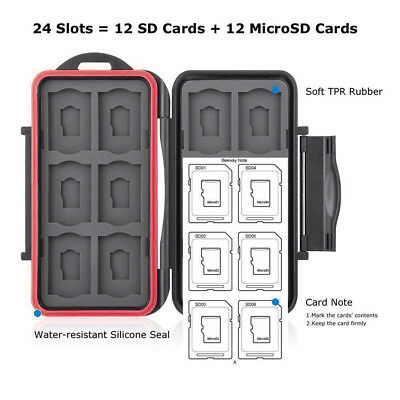 Memory Card Case Hard Protector Box Storages Holders Fits 12 SD+12 Micro SD Card