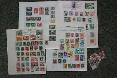 VINTAGE IRAQ STAMP COLLECTION ON 4 ALBUM PAGES (125 different plus 40 misc)