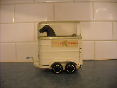 Vintage Tonka Horse Trailer Tin Plastic Roof Black Model Horses Gorgeous Stables