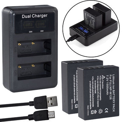 2Pcs NP-W126 S Battery For Fujifilm Fuji X-T20 X100F X-T100 & LCD DUAL Charger