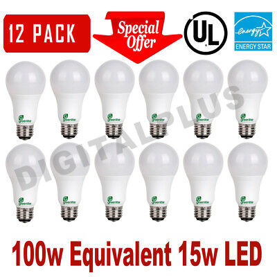 12 LED Light Bulbs GREENLITE 15W 100W Rep 1600L Bright White 3000K A19 DIMMABLE