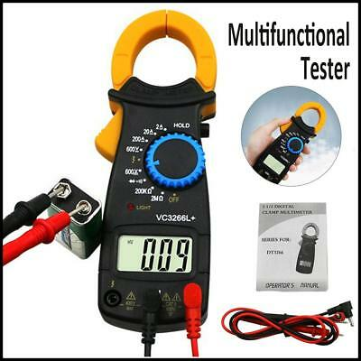 Portable LCD Digital Clamp Multimeter AC DC Volt Amp Ohm Electronic Tester Meter