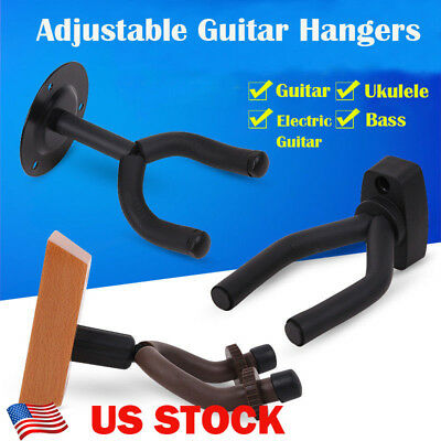 Guitar Ukulele Bass Wall Mount Hangers Adjustable Hook Holder Stands Rack New US
