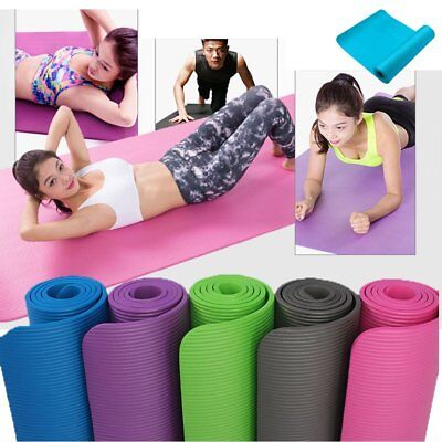 Yoga Mat for Pilates Gym Exercise Carry Strap 10mm Thick Large Comfortable NBR