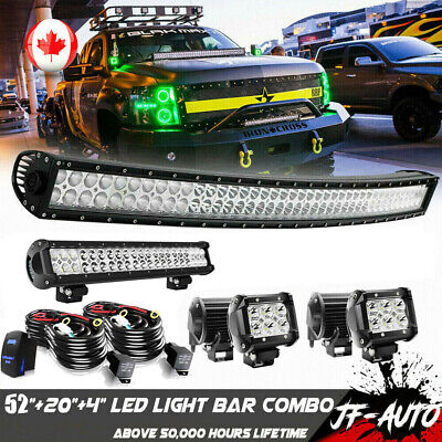 "42''Inch LED Light Bar Combo + 22in +4"" CREE PODS OFFROAD SUV 4WD JEEP FOG TRUCK"