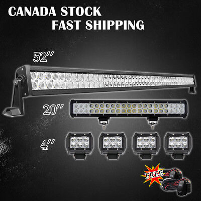 "52Inch LED Light Bar Combo + 20in +4"" CREE PODS OFFROAD SUV 4WD ATV JEEP FORD 22"