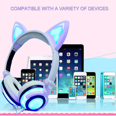 Universal Cat Ear Headset LED Music Lights Headphone for Phone/PC Foldable X5R7M