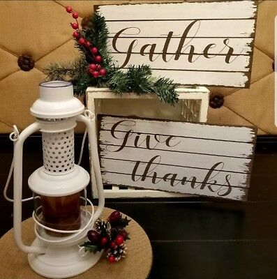 "Farmhouse Rustic 2 pc Art SET ""GATHER & GIVE THANKS""""  Modern Vintage Home Decor"