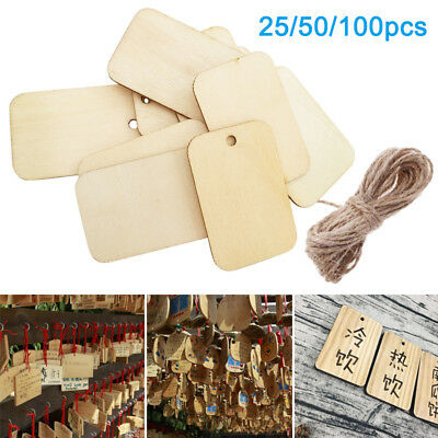 25/50/100X Wooden Label Eco-friendly Decorations Blank Wood Rectangle Tags