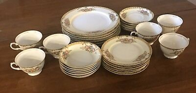 Vintage Hand Painted 30 Piece Setting For Six/ Diamond China/ Japan/ Pre 1938
