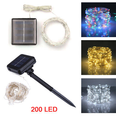 200 LED Solar LED Micro Rice Wire Copper Fairy String Lights Xmas Outdoor Decor
