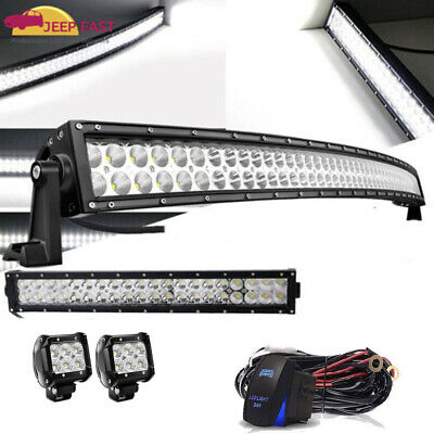 """42Inch Curved LED Light Bar+22 inch+4"""" CREE PODS OFFROAD SUV 4WD UTV VS 52/40/20"""