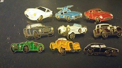 VINTAGE CARS ENAMEL old PIN BADGES COLLECTION OF 9 MERCEDES GULLWING  PORSCHE MG