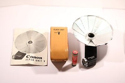 Canon Flash Unit Model V with original leather case for Canon V Series